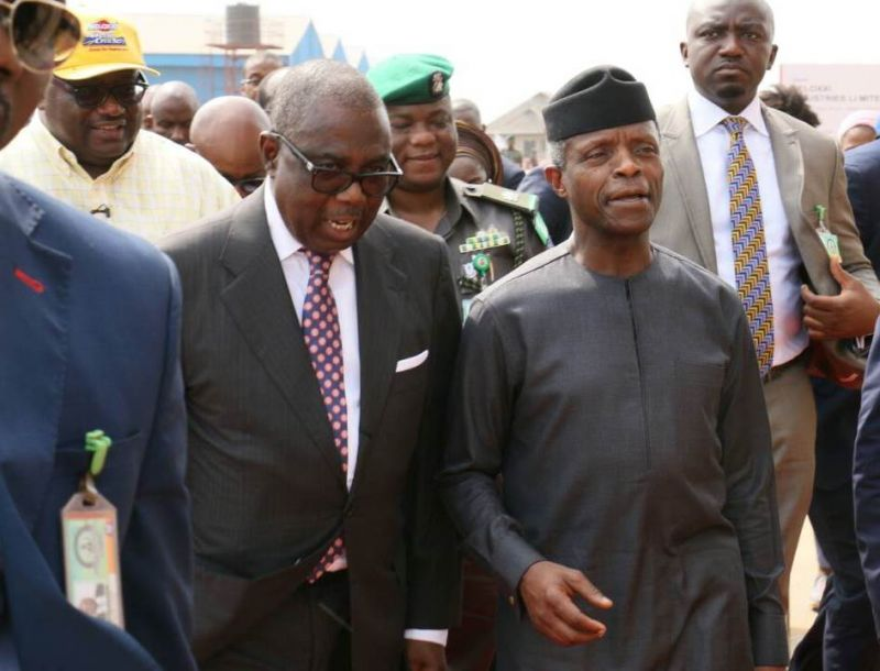 L-R: the Managing Director/Chief Executive Officer, Beloxxi Industries Limited, Mr. Obi Ezeude; Chairman, Beloxxi Industries Limited, Mr. Ernest Ebi and the Vice President, Federal Republic of Nigeria, Professor Yemi Osinbajo at the commissioning of Phase 2 and Foundation Laying of Beloxxi Industries' Phase 3 Expansion Project in Agbara, Ogun State on Thursday, Feb. 8, 2018.