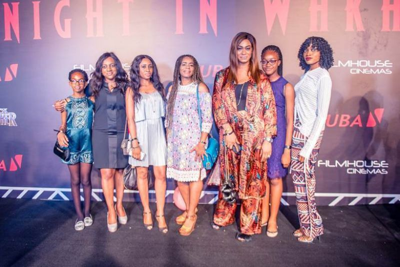 Lotanna Kennedy, wife of Kennedy Uzoka, Uzo Oshogwe, Managing Director of Afriland Properties Plc with their children and friends at the premiere of the most anticipated movie of the year #BlackPanther, A Night in Wakanda