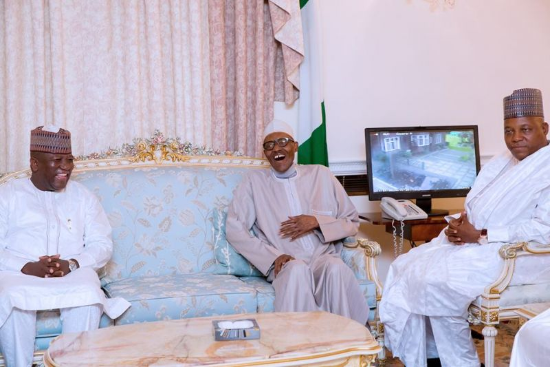 Buhari receives visiting governors in London.