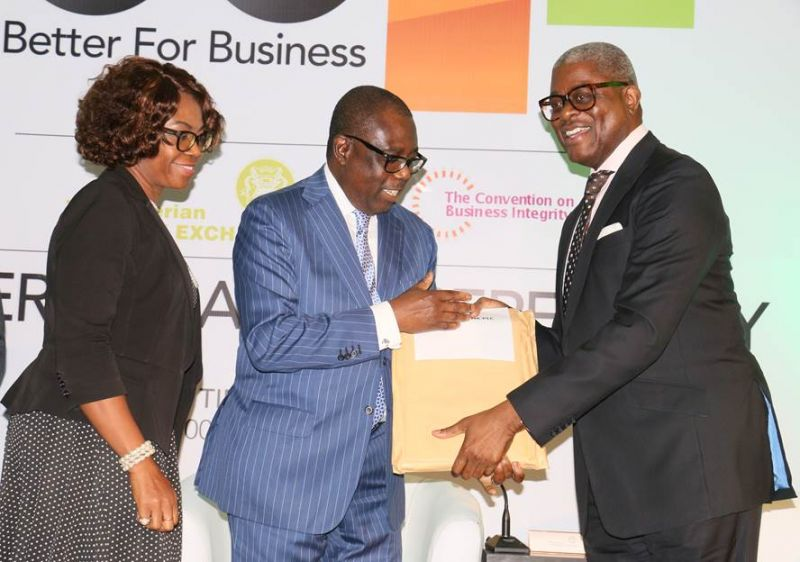 L-R: Executive Director, Commercial and Consumer Banking, South Fidelity Bank Plc. Aku Odinkemelu; Chairman, Fidelity Bank Plc. Ernest Ebi; President, Council of Nigerian Stock Exchange Chris Ogunbanjo at the presentation of Corporate Governance Rating System (CGRS) certification to Directors of Fidelity Bank in Lagos.