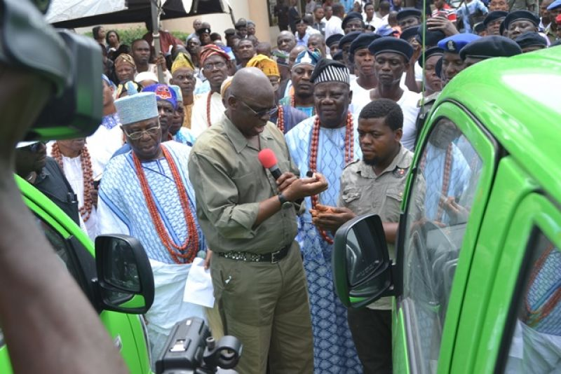Governor Fayose at the inauguration of the Ekiti grazing enforcement Marshals in Ado Ekiti on Thursday 20, October, 2016.