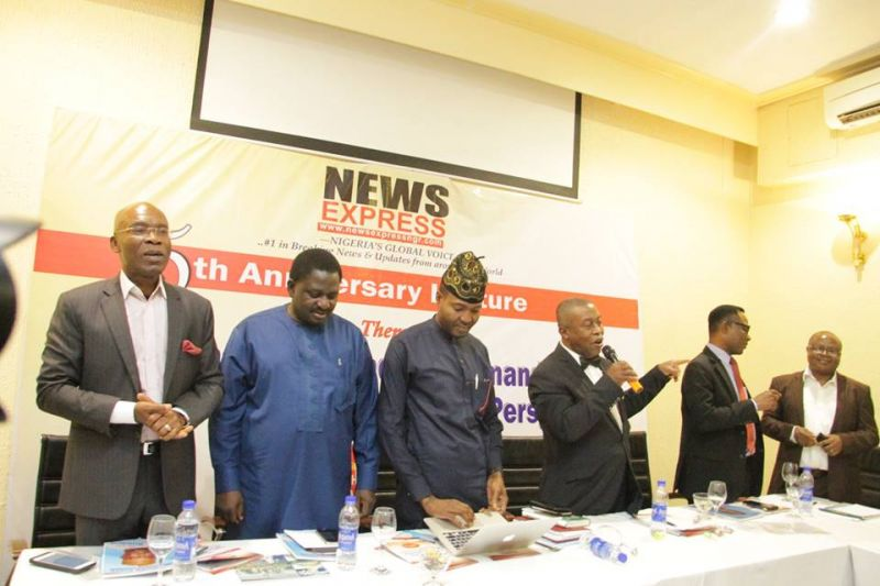 L-R  Leo Stan Ekeh, Femi Adesina and other members of the high table at the 5th anniversary lecture of News Express held at Sheraton Hotel Towers on Thursday, Sep. 28, 2017.