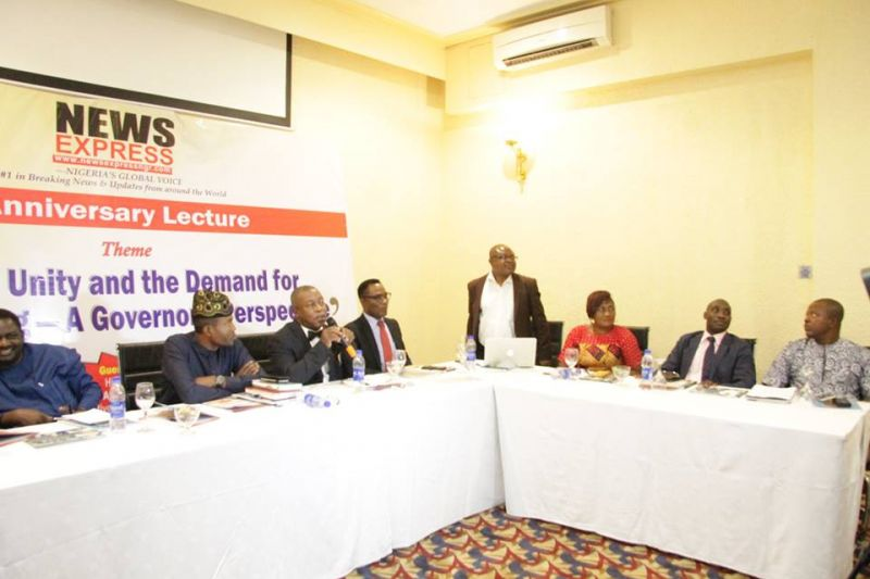 Members of the high table at the 5th anniversary lecture of News Express held at Sheraton Hotel Towers on Thursday, Sep. 28, 2017.