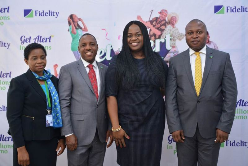 L-R: Head of Savings, Janet Nnabuko; Regional Bank Head, Ikeja Region, Jude Monye; Executive Director, Shared Services and Products, Chijioke Ugochukwu and Divisional Head, Retail Banking, Richard Madiebo all of Fidelity Bank Plc at the 3rd Monthly Draw/ 1st Quarterly Draw  of the Fidelity Bank Get Alert in Millions Savings Promo held at the Fidelity Head Office, Lagos… today 8th December, 2016.
