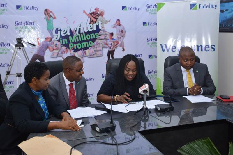 L-R: Head of Savings, Fidelity Bank Plc, Janet Nnabuko; Regional Bank Head, Ikeja Region, Fidelity Bank Plc, Jude Monye; Executive Director, Shared Services and Products, Fidelity Bank Plc, Chijioke Ugochukwu and Divisional Head, Retail Banking, Fidelity Bank Plc, Richard Madiebo at the 3rd Monthly Draw/ 1st Quarterly Draw  of the Fidelity Bank Get Alert in Millions Savings promo  held at the Fidelity Head Office, Lagos… today 8th December, 2016.