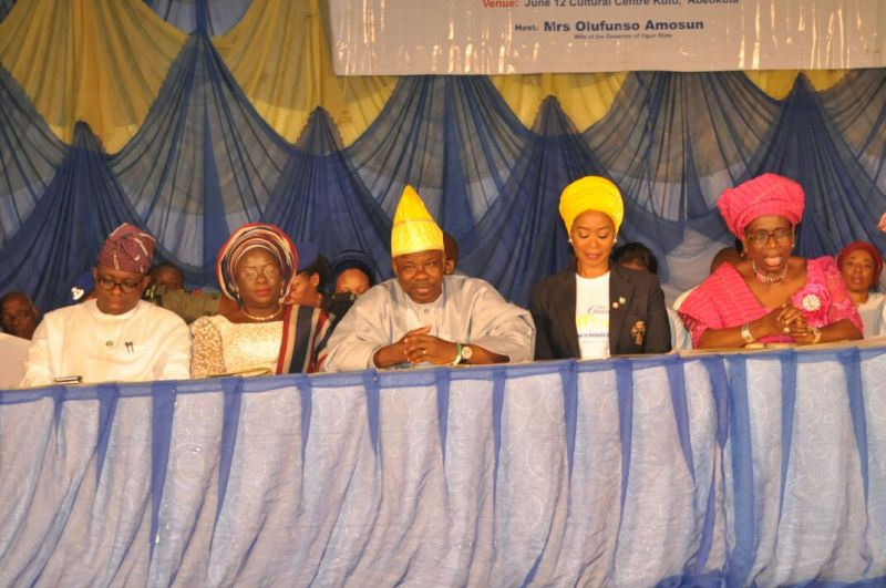 Ogun State Governor, Senator Ibikunle Amosun and his wife, Olufunso at the 6th edition of Uplift the Aged programme to mark the 59th birthday of the governor at the June 12 Cultural Centre, Kuto, Abeokuta