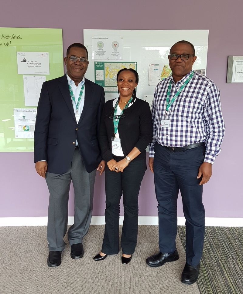 Mrs Victoria Adefala, former Nigeria Country President of Alstom Group( middle); with Fmr Governor Peter Obi (right) and  Mr Basil Omiyi (left), Chairman of Stanbic-IBTC Bank Plc, during a leadership and financial management course at  INSEAD, France, on June 8, 2017.