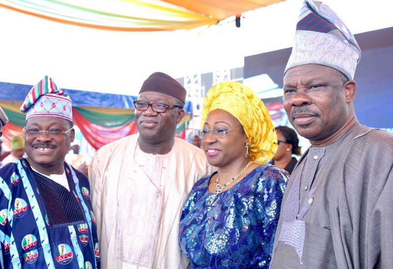 (L-R) Oyo State Governor, Senator Abiola Ajimobi, Minister for Solid Minerals, Dr. Kayode Fayemi, his wife, Bisi and the Ogun State Governor, Senator Ibikunle Amosun at the inauguration of Mr. Rotimi Akeredolu as the governor of Ondo State, in Akure, on Feb. 24, 2017.