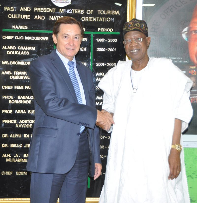 Minister of Information and Culture, Alhaji Lai Mohammed (right), receiving the French Ambassador to Nigeria, Mr. Denys Gauer (left),  during a courtesy visit to the Minister's office in Abuja on Friday, Sept. 22, 2017.