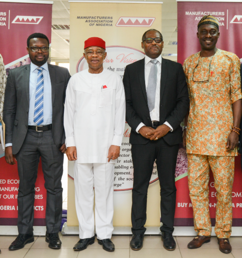 L-R: Business Development Manager, Shell Nigeria Gas, James Makinde; President, Manufactures Association of Nigeria (MAN), Dr. Frank Udemba Jacobs; Managing Director, Shell Nigeria Gas, Ed Ubong; and Director General, MAN, Mr. Segun Ajayi Kadir, during a courtesy visit by Shell Nigeria Gas leadership to Manufacturers Association of Nigeria office at Ikeja last week, to discuss Nigeria's industrialisation through domestic gas utilisation.