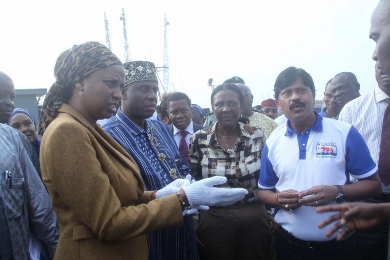 L-R; Minister of  Transportation, Rt. Hon. Chibuike Rotimi Amaechi, Managing Director Nigerian Ports Authority (NPA), Ms Hadiza Bala Usman, and Managing Director, Atlantic Shrimper Limited, Mr. Kamlesh Kabra, during the inspection tour of Tincan Island Port Apapa Lagos, on Jan. 20, 2017.