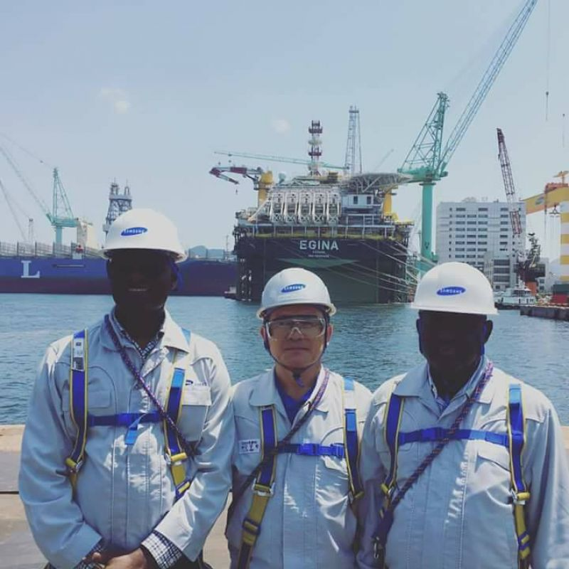 The Managing Director of Nigeria Export Processing Zones Authority (NEPZA), Hon. Emmanuel Jime (right), and the General Manager, Business Development, Engr. David Nongo, (third right), at the Samsung Heavy Industries Headquarters, Geoje Island, Busan, South Korea, on official visit during the weekend of July 28, 2017.