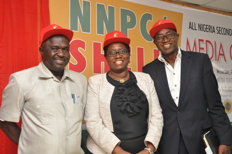 L-R: President, Nigeria Schools Sports Federation, Mallam Ibrahim Muhammad; Communications Manager, Shell Nigeria, Mrs. Sola Abulu; and former Super Eagles striker and CEO, Worldwide Sports, Chief Olusegun Odegbami, at a press conference to announce the commencement of the 2016 edition of the NNPC/Shell Cup, at the Teslim Balogun Stadium, Lagos... on Wednesday