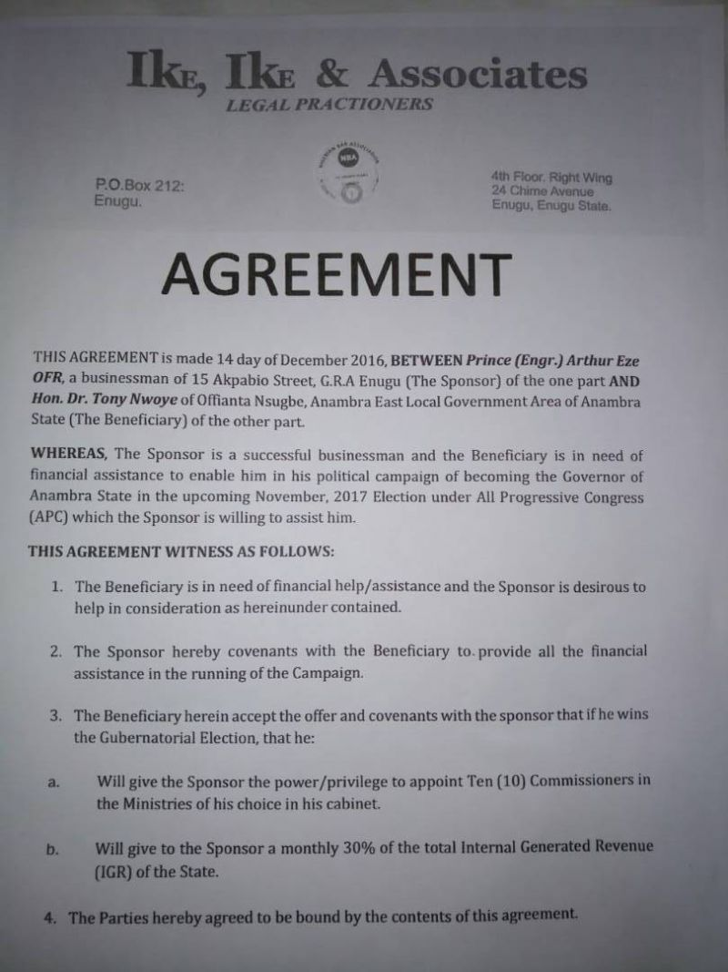 Nwoye's Agreement