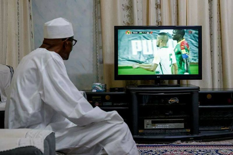 President Buhari watching the Return Leg of Nigeria-Cameroon World Cup Qualifier Match in Yaounde Cameroon from his home in Daura Katsina on 4th Sept 2017.