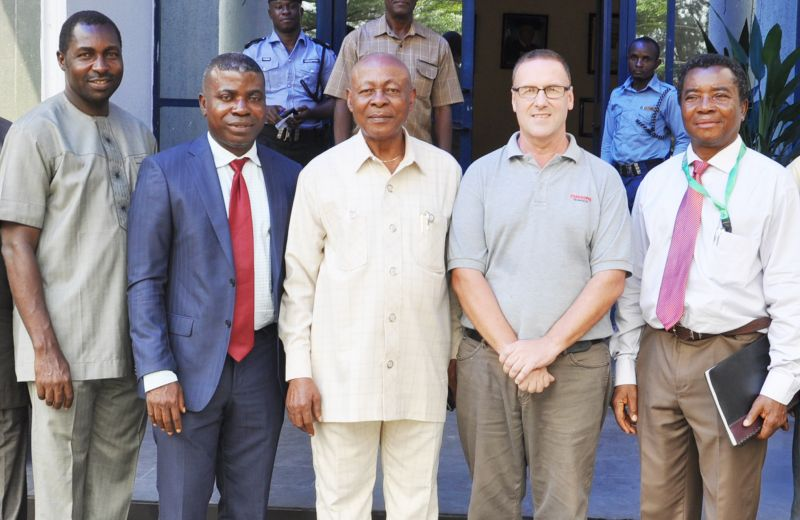 L-R: Head of University Relations, Shell Petroleum Development Company, Prof. Emmanuel Ukpebor; Social Investment Manager, Mr. Emmanuel Ekpenyong; Vice Chancellor, Rivers State University of Science and Technology, Prof. Chimezie Didia; Installation Engineer, Cussons Technologies Limited, Mr. Gerrard Smith; and the Head of Department, Marine Engineering, RSUST, Dr. Ibiba Douglas, at the pre-installation meeting for SPDC JV-sponsored Centre of Excellence in Marine and Offshore Engineering in the university in Port Harcourt… on Tuesday 8th, November, 2016.