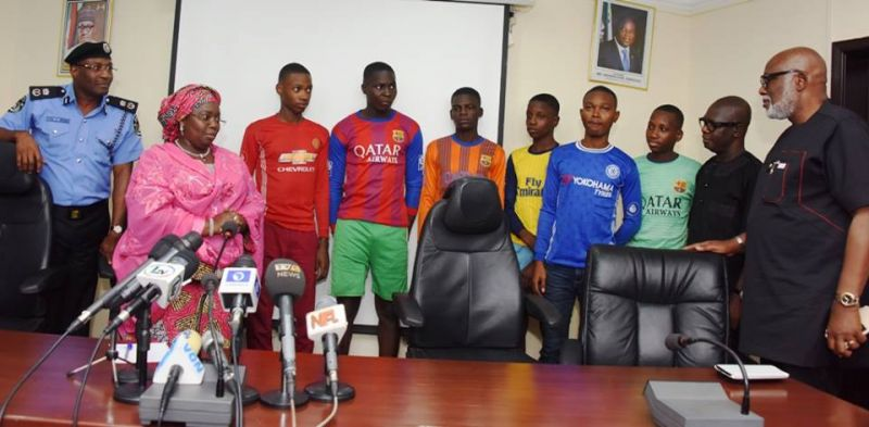 Photo shows  rescued kidnapped Lagos students in Lagos.