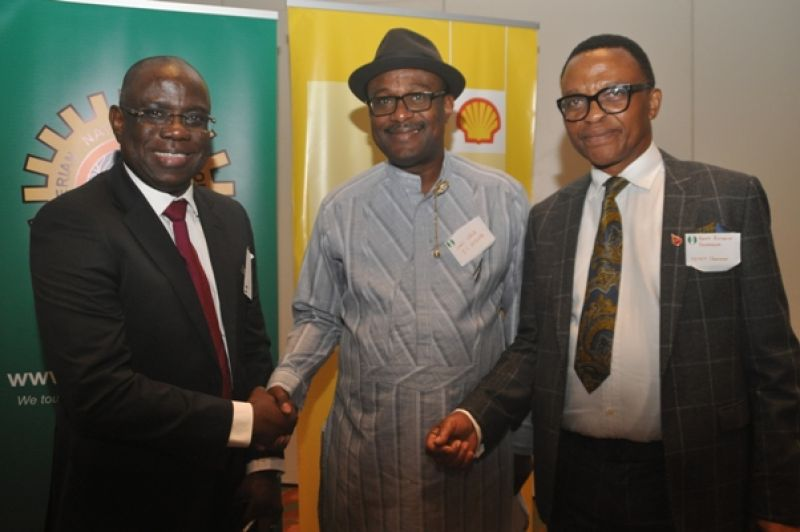 L-R: Managing Director, Shell Nigeria Exploration and Production Company, Bayo Ojulari; Executive Secretary, Nigeria Content Development and Monitoring Board, Simbi Wabote; and the Chairman, Petroleum Technology Association of Nigeria, Okoroafor Bank-Anthony, at the opening ceremony of a workshop on Nigeria Content Opportunity in Bonga South West Aparo Deep Offshore Project organised by SNEPCo in Lagos… on Wednesday, 7th June, 2017.