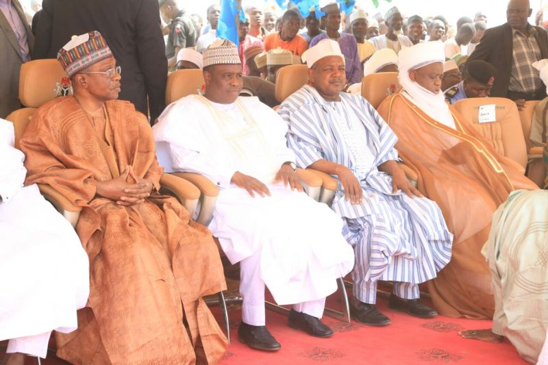 L-R CBN Governor Mr Godwin Emefiele, Sokoto state Governor, Alhaji Aminu Waziri Tambuwal, Kebbi state Governor, Senator Abubakar Atiku Bagudu and Sultan of sokoto, Alhaji Sa'ad Abubakar III, at the flag-off ceremony for 2016 dry season wheat farming in Isa local Government Area, Sokoto State, on Saturday 19th, November, 2016.