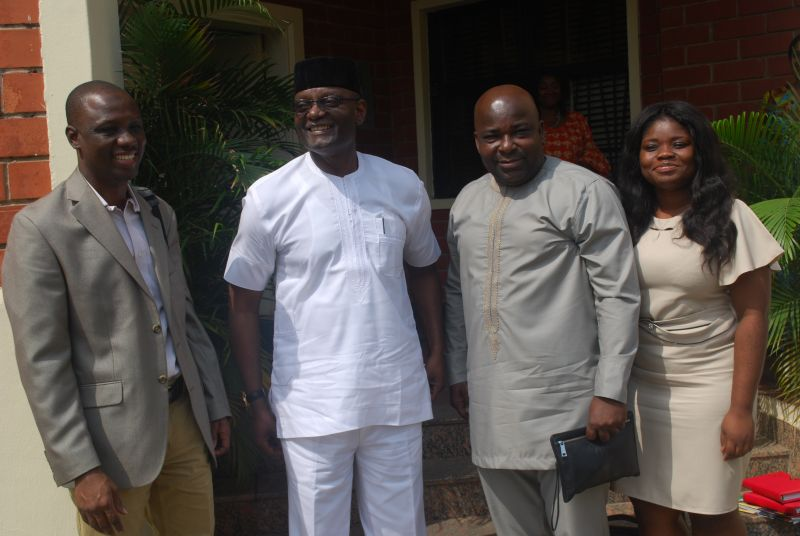 1306:  NEPZA MD, Hon. Emmanuel Jime (in white), with some management staff of the Ghana Free Trade Board (GFTB) who paid him a courtesy call on Wednesday at the Authority's Head-Office in Maitama, Abuja.