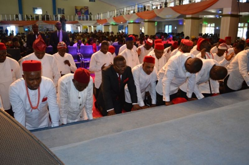 Governor David Umahi of Ebonyi State (wearing suit) and fathers during the 2017 Fathers' Day celebration by the Christ Embassy Church in Abakaliki on Sunday