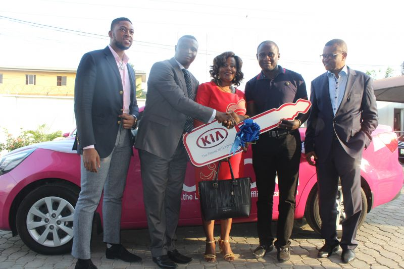 PROUD WINNERS: (R-L) Chief Executive Officer, Yudala, Mr. Dave Ibelegbu, raffle draw winner Mr. Samuel Uadiala and his wife Jummai, Kia Motors representative, Mr. Moses Oguntimehin and Founder/Vice President, Yudala, Prince Nnamdi Ekeh during the official presentation of a brand new Kia Rio to Mr. Uadiala at the Yudala Headquarters in Gbagada, Lagos…recently. Mr. Uadiala emerged the lucky winner of the grand prize in a raffle draw conducted at the end of the Yudala Zero Gravity Concert and Black Friday Sales on November 29th 2016.