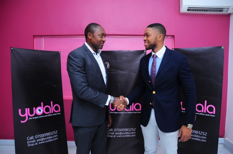 SEALED WITH A HANDSHAKE: Account Management Director, Insight Publicis, Wole Ogundare (left) and Founder/Vice President, Yudala, Prince Nnamdi Ekeh during the contract signing ceremony for the official appointment of Insight Publicis as communications consultants to Yudala at the Yudala Headquarters in Lagos…recently. The partnership will see Insight Publicis work closely with Yudala to position the company as a global brand and to further enhance the benefits for online and offline shoppers as captured in Yudala's unique composite e-commerce model.