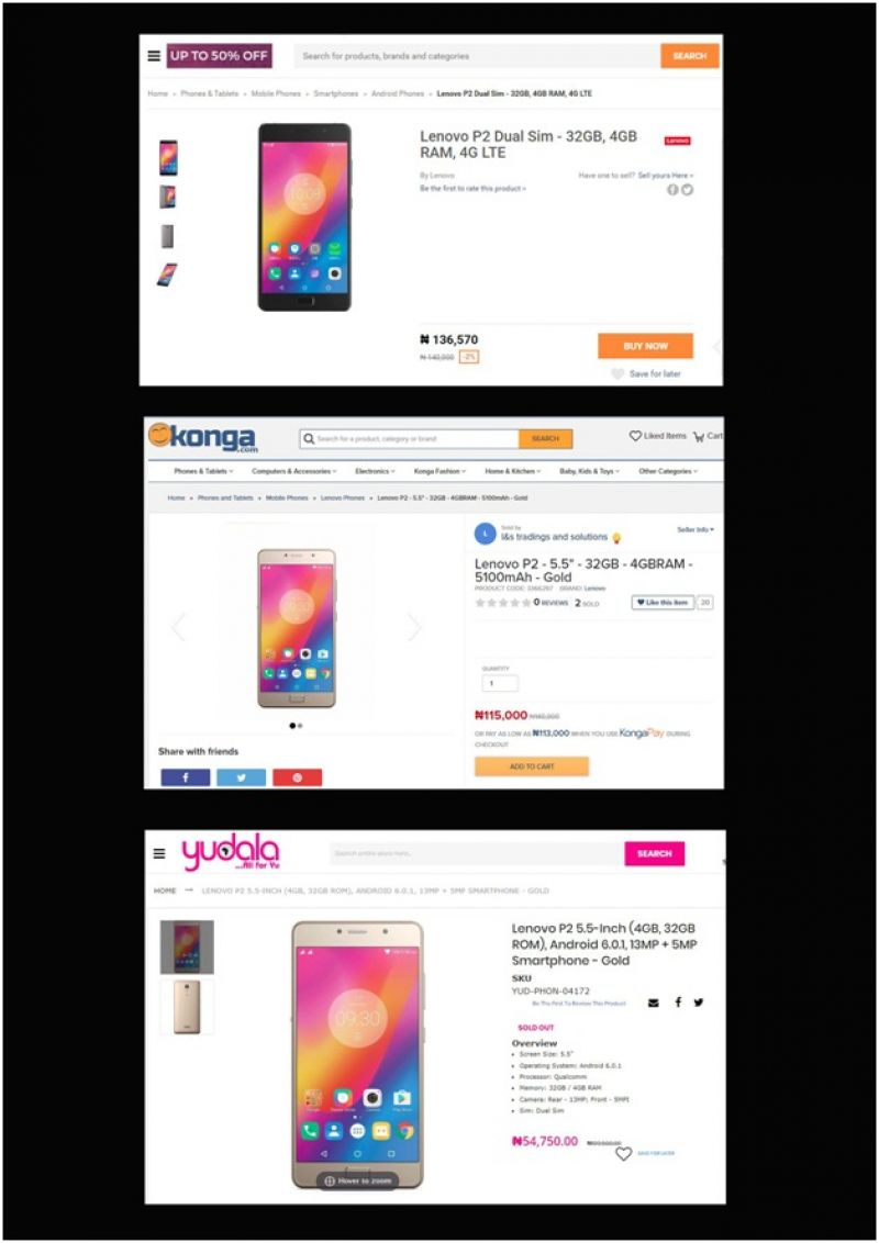 Yudala product and prices.