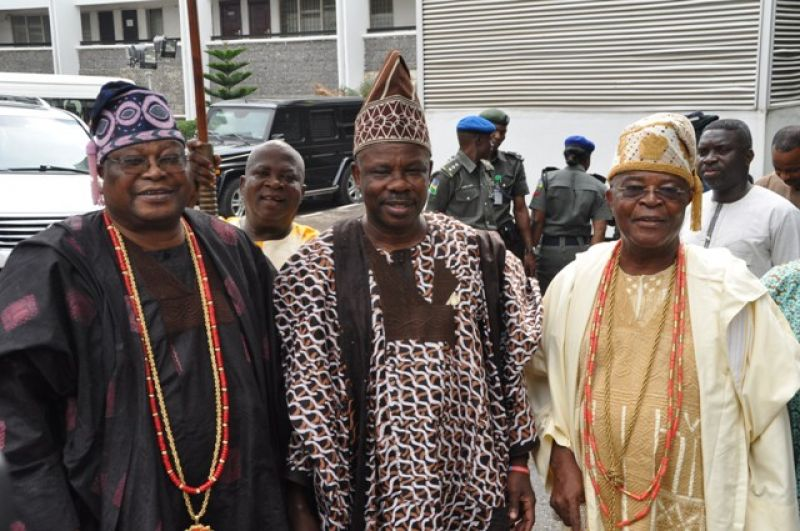 (L-R) The Awujale of Ijebu Kingdom, Oba Sikiru Kayode Adetona; Ogun State Governor, Senator Ibikunle Amosun and the Alake of Egbaland, Oba Adedotun Aremu Gbadebo III, after a closed door meeting at the governor's office, Oke-Mosan, Abeokuta on Wednesday 16th March, 2016.