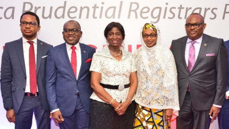 Pix of APR Plc Annual General Meeting 10: l-r: Director, Africa Prudential Registrars Plc, Mr. Samuel Nwanze; Managing Director/CEO, Mr. Peter Ashade; Chairman, Chief(Mrs) Eniola Fadayomi; Directors, Hajia Ammuna Ali and Peter Elumelu,  at the 3rd Annual General Meeting of the company held in Lagos on Tuesday