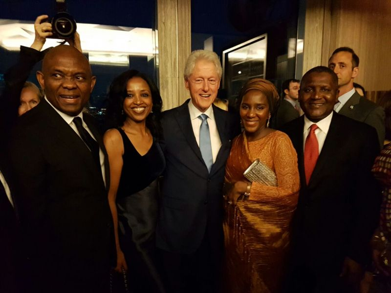 President/CE, Dangote Industries Limited, Aliko Dangote; Halima Dangote, Executive Director, Dangote Industries Limited; Chairman, Heirs Holdings, Tony Elumelu and Mimi Alemayehou, Blackstone, celebrating with Former President Bill Clinton at his 70th birthday at the Rockerfeller Plaza, New York.