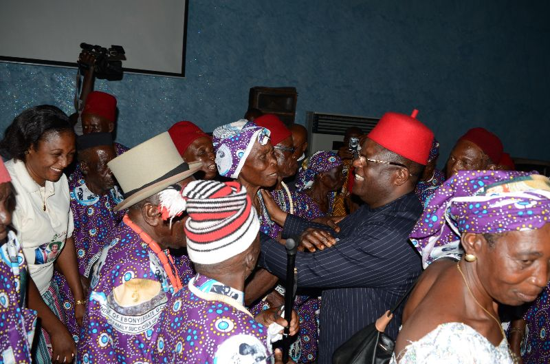 Governor David Umahi of Ebonyi State(wearing eye glasses)  dancing with octogenarians during a banquet in honour of Ebonyians above 80 years of age at the Governor's Lodge, Government House, Abakaliki ...on Sunday 16th October 2016.