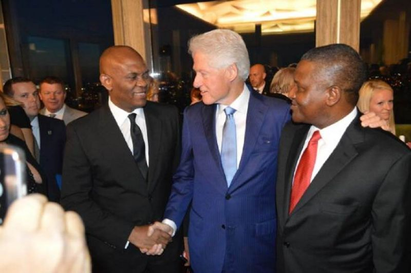 Mr. Tony Elumelu, Chairman United Bank for Africa (UBA Plc) and Heirs Holdings, a former President of the United States, Bill Clinton; and President, Dangote Group, Alhaji  Aliko Dangote during Clintons 70th birthday in the US, on Saturday, Sept. 18, 2016.
