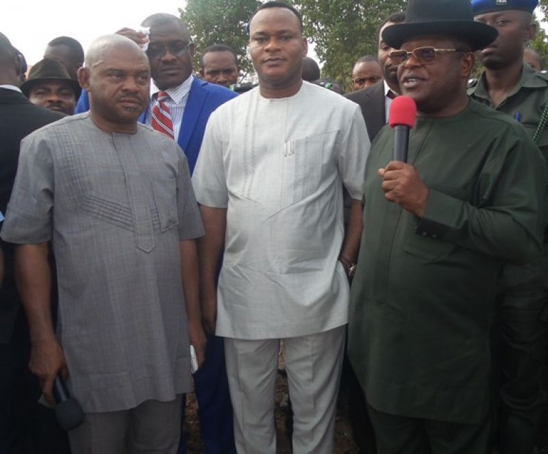R:L- Governor David Umahi of Ebonyi State; Deputy Governor Kelechi Igwe; and Commissioner for Local Government and Chieftaincy Matters, Barr. Samuel Okoronkwo,at the commissioning of 13  bulldozers  for massive rice production across the LGAs in the state in Abakaliki on 19th Feb, 2016