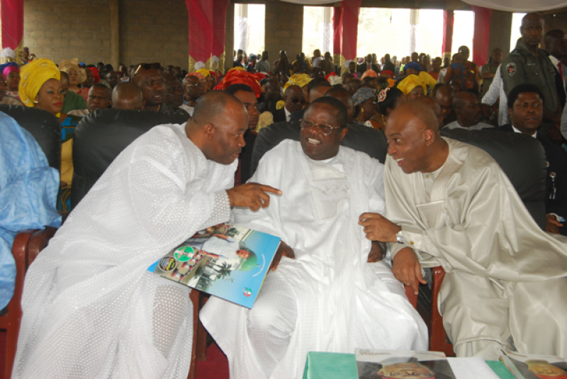Governor David Umahi of Ebonyi State (centre); President of the Senate Bukola Saraki (right); and Senate Minority Leader, Godswill Akpabio, at a thanksgiving service by Senator Obinna Ogba at CKC, Nkalagu in Ebonyi State on February 7, 2016,