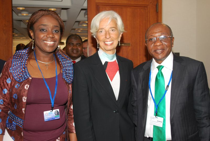 Minister of Finance, Mrs Kemi Adeosun, Managing Director, IMF Madame Christie Lagarde, and CBN Governor, Mr Godwin Emefiele, during a courtesy visit to the IMF Headquarters in Washington DC, USA, on Sunday, Oct. 9, 2016.