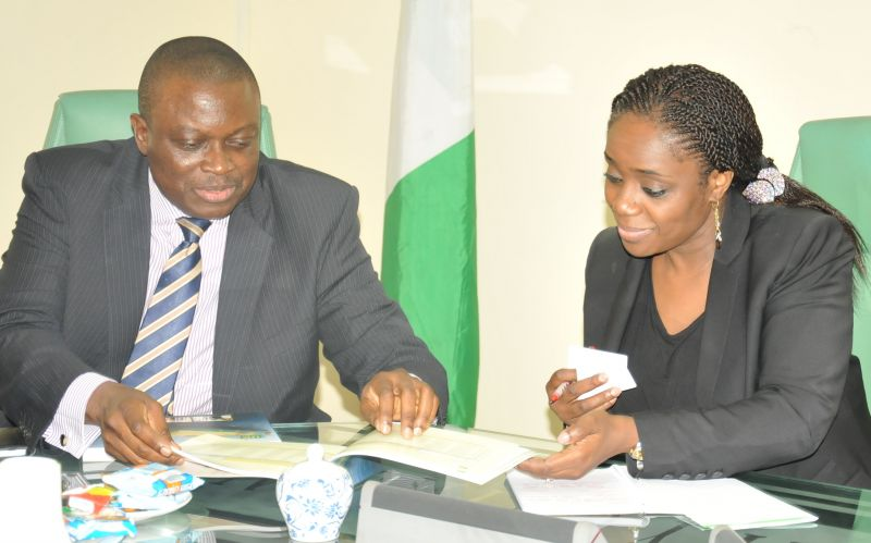 Minister of Finance, Mrs. Kemi Adeosun (right) with Managing Director, Nigeria LNG Ltd Mr. Babs Omotowa during a courtesy visit of the Nigeria LNG team to the Minister in Abuja…on August 29, 2016.