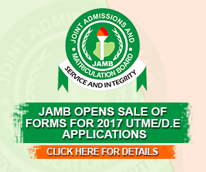 JAMB Sale of 2016/2017 UTME/DE applications