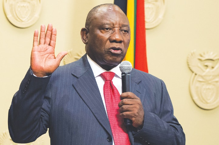 •South African president, Cyril Ramaphosa