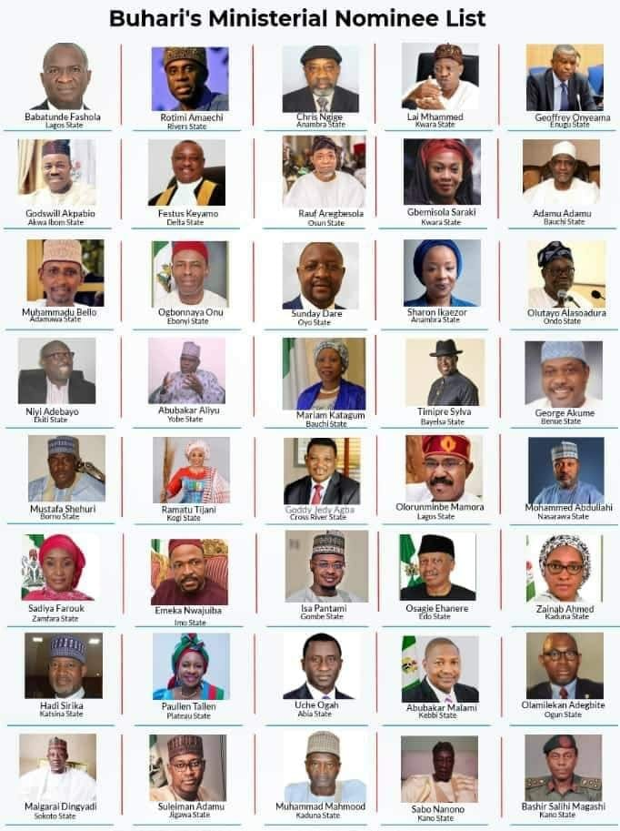 •President Buhari's ministerial nominees