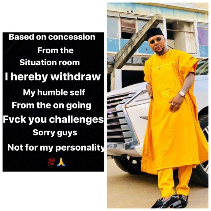 Oritsefemi pulls out of 'Fvck You' challenge… Apologises to fans