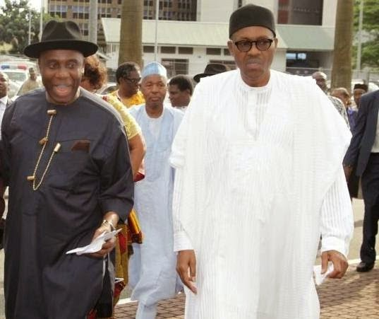 •Amaechi and President Buhari at a political event