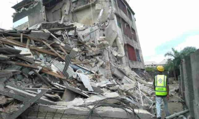 •The collapsed building