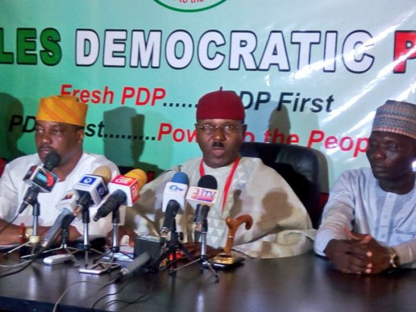 •Fresh PDP chiefs addressing a press conference