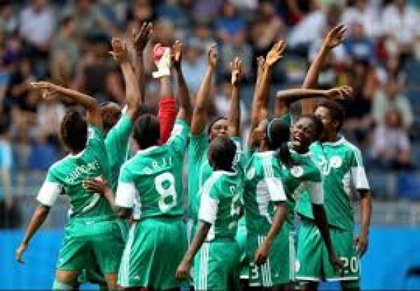 •Falconets celebrating a goal