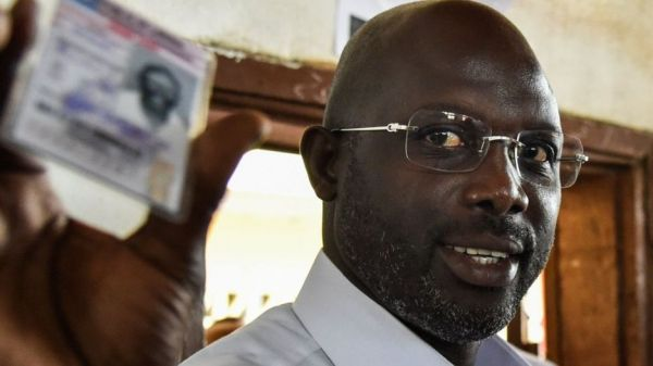 George Weah in early lead in Liberia's presidential election
