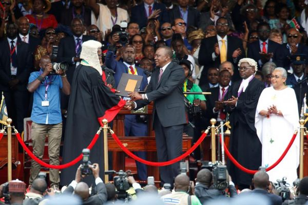 •Kenyan President Uhuru Kenyatta during his inauguration on Tuesday