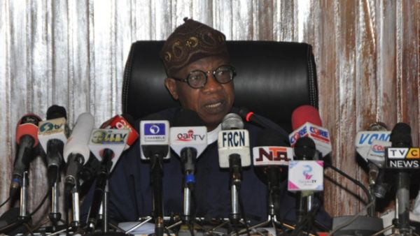 •Information Minister Lai Mohammed fielding questions from newsmen