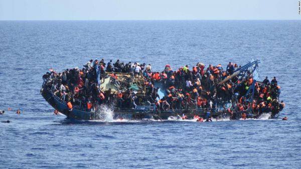 •Troubled migrants rubber dinghy