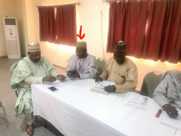 •Comptroller-General of Immigration, Mohammed Babandede (arrowed) during the APC caucus meeting.